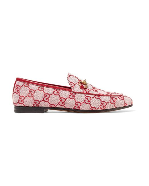 Gucci - Red Jordaan Horsebit-detailed Leather-trimmed Logo-printed Canvas Loafers - Lyst