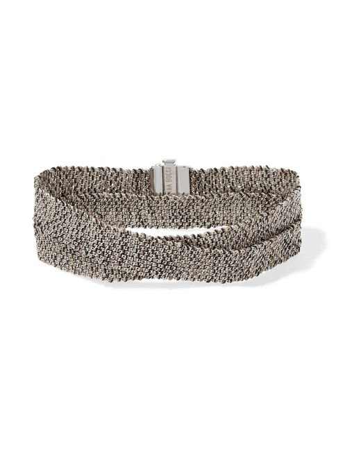 Carolina Bucci   Metallic Melange Woven 18-karat White Gold And Silk Wrap Bracelet   Lyst