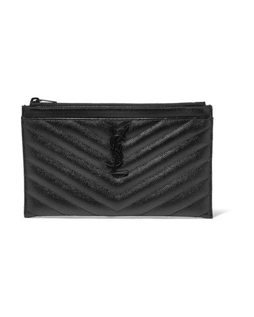 Saint Laurent - Black Monogramme Quilted Textured-leather Pouch - Lyst