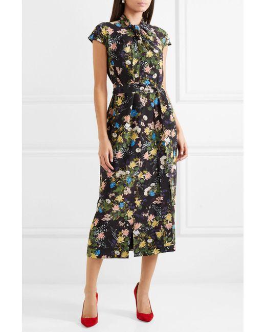 Finn Floral-print Silk-crepe Midi Dress - Black Erdem RY9WJw