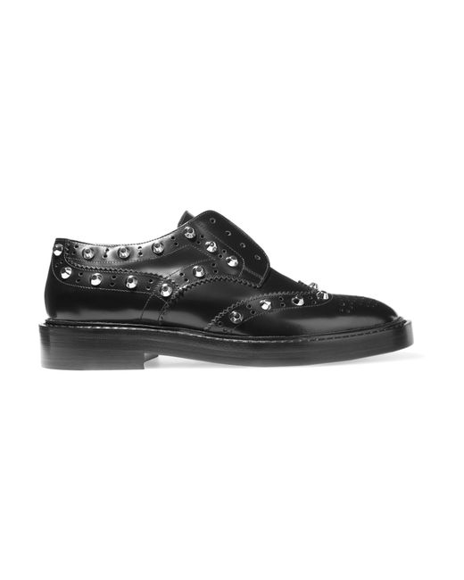 balenciaga studded leather brogues in black lyst