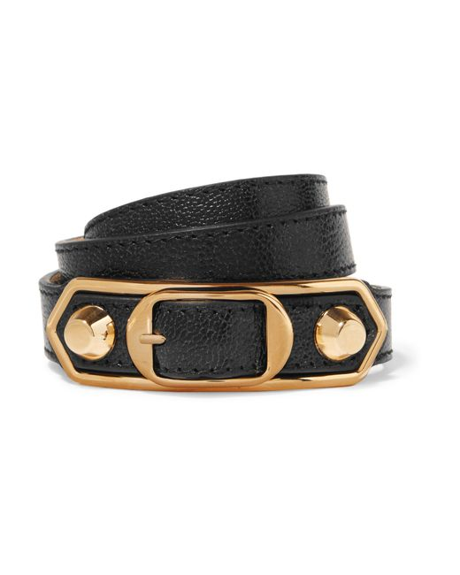 Balenciaga   Black Metallic Edge Textured-leather And Gold-tone Bracelet   Lyst
