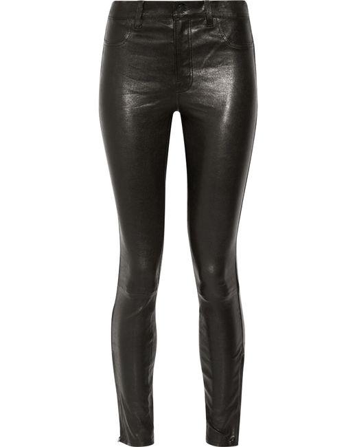 J Brand | Black L8001 Stretch-Leather Skinny Pants | Lyst