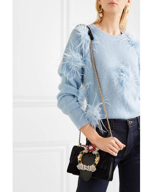 54d0aff9446a ... Miu Miu - Black Lady Velvet Crossbody Bag - Lyst ...