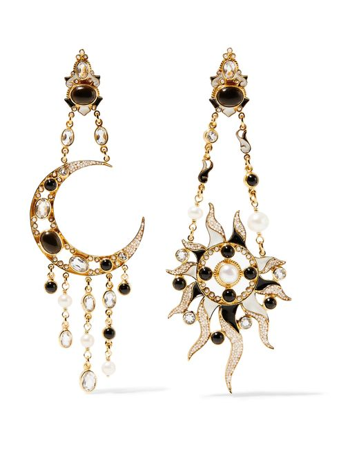 Percossi Papi | Metallic Diego Sun And Moon Gold-plated Multi-stone Earrings | Lyst