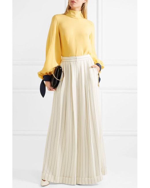 Free Shipping Best Outlet Visit Zohra Striped Crepe De Chine Wide-leg Pants - White Roksanda Ilincic 6lqtt0jWQ