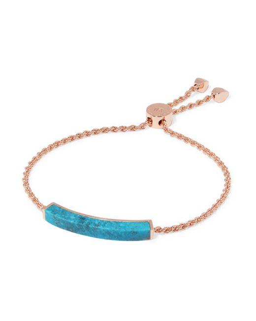 Monica Vinader | Blue Rose Gold-plated Turquoise Bracelet | Lyst