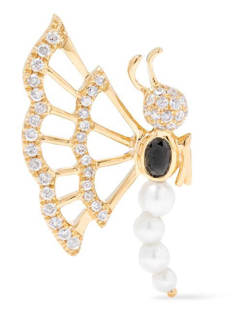 Yvonne Léon   Metallic 18-karat Gold, Diamond And Pearl Earring   Lyst