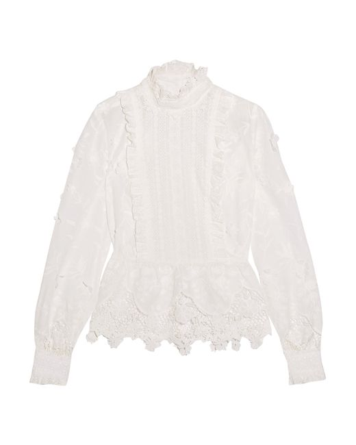Anna Sui | White Daisy Fields Silk-blend And Broderie Anglaise Cotton Blouse | Lyst