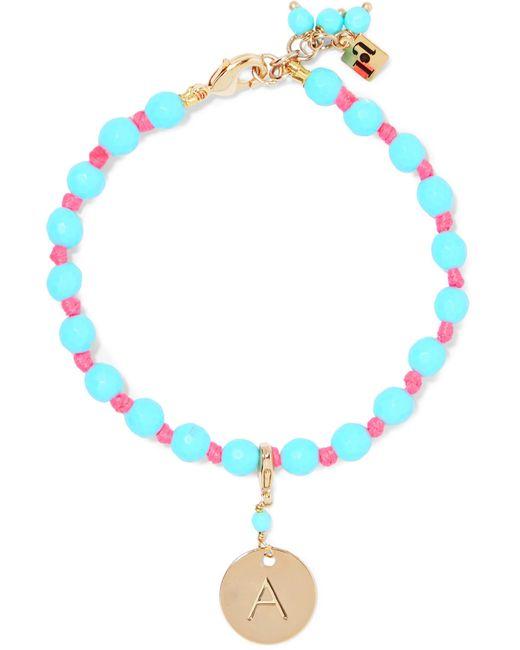 Rosantica - Blue Bracelet En Métal Doré Et Perles Segno Alphabet - Lyst