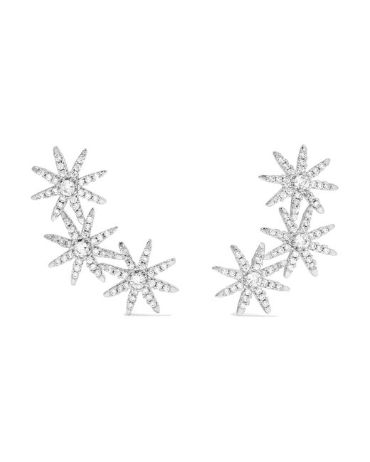 Kenneth Jay Lane - Metallic Starburst Silver-plated Cubic Zirconia Earrings - Lyst