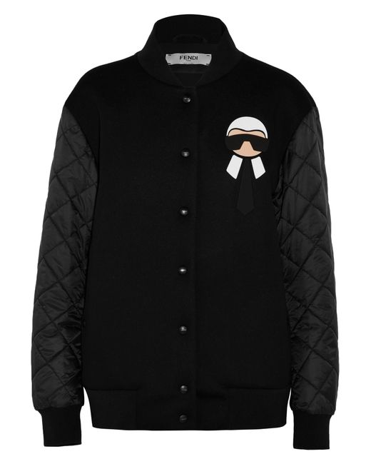 Fendi Karlito Jersey And Quilted Shell Down Bomber Jacket ...