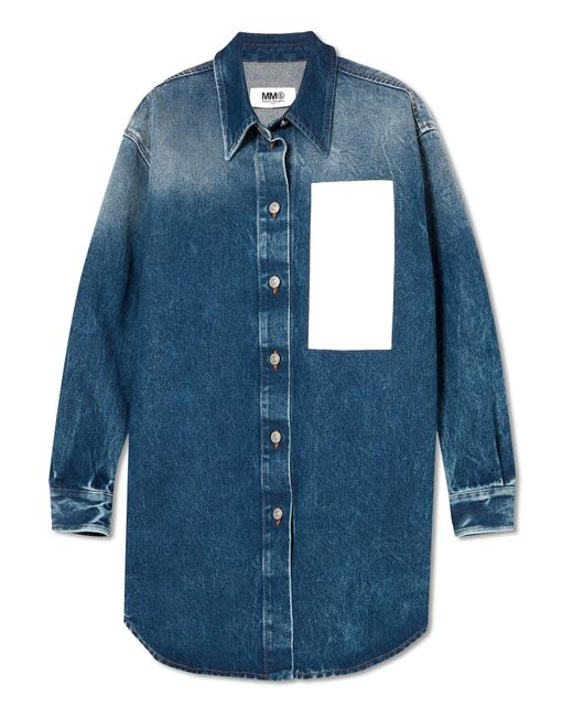 MM6 by Maison Martin Margiela | Blue Paneled Denim Shirt | Lyst
