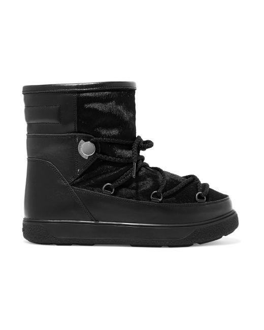 Moncler - Black New Fanny Shearling-lined Calf Hair And Leather Snow Boots - Lyst