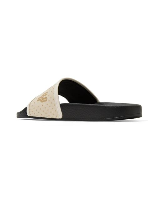 dc05ac23118 ... Gucci - Black Pursuit Leather-trimmed Logo-print Canvas Slides - Lyst  ...