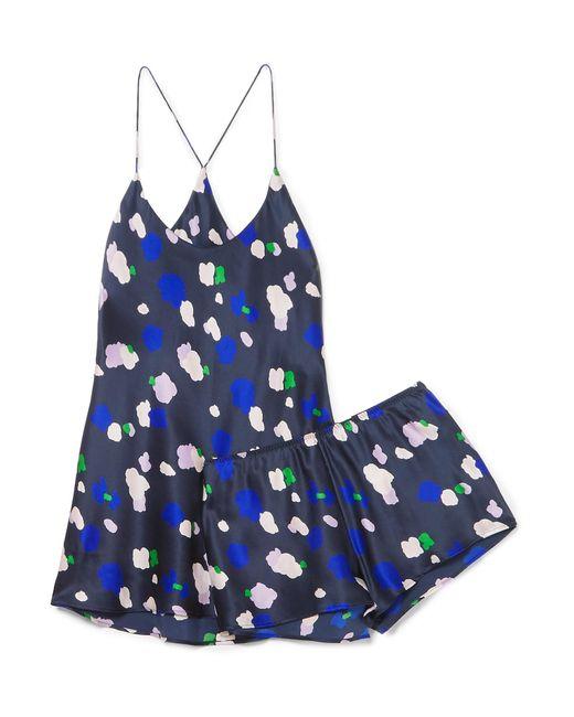 Olivia Von Halle - Blue Bella Printed Silk-satin Pajama Set - Lyst