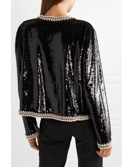 91064e94f9eb ... Gucci - Black Faux Pearl And Crystal-trimmed Sequined Crepe Jacket -  Lyst ...