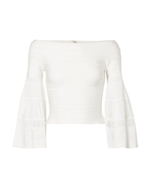 Hervé Léger - White Off-the-shoulder Textured Knit-paneled Bandage Top - Lyst