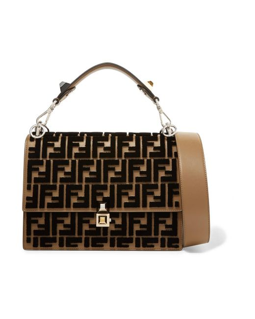 Fendi - Brown Kan I Flocked Leather Shoulder Bag - Lyst