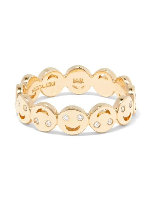 Alison Lou | Metallic All Happy 14-karat Gold Diamond Ring | Lyst