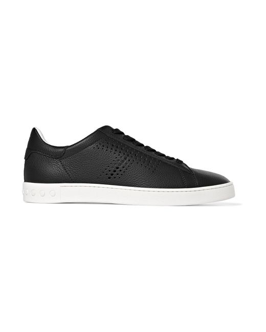 Tod's | Black Perforated Textured-leather Sneakers | Lyst