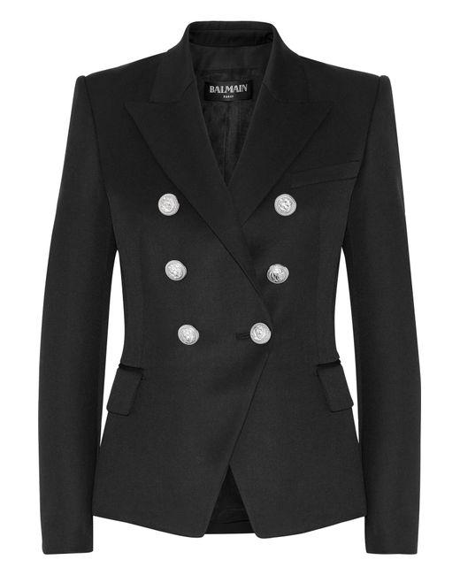 Balmain | Black Double-breasted Wool Blazer | Lyst