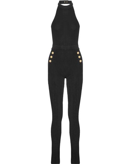 Balmain | Black Ribbed Stretch-knit Halterneck Jumpsuit | Lyst
