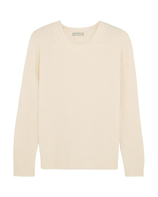 Vince | Natural Wrap-effect Ribbed Cotton And Cashmere-blend Sweater | Lyst
