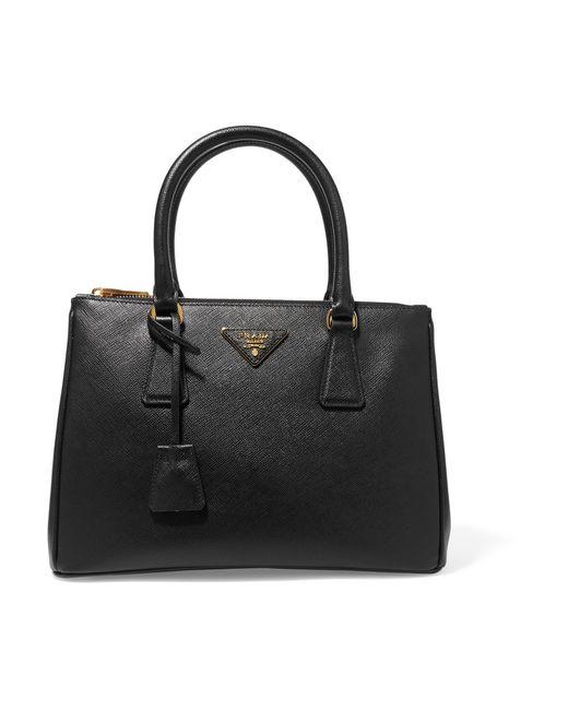 Prada   Black Galleria Medium Textured-leather Tote   Lyst