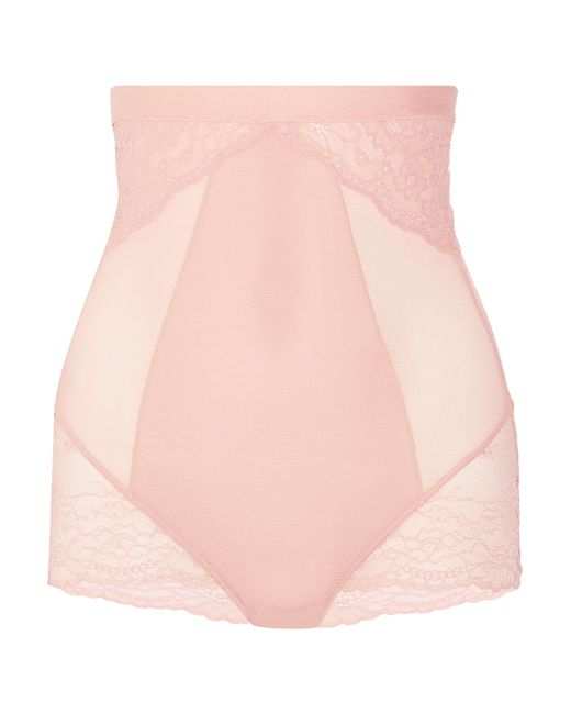 Spanx | Pink Spotlight Stretch-tulle And Lace High-rise Briefs | Lyst