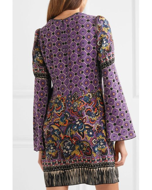Printed Silk Crepe De Chine Mini Dress - Purple Anna Sui Vg2GkUrw