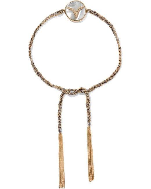 Carolina Bucci | Metallic Aries Lucky Zodiac 18-karat Gold, Diamond, Mother-of-pearl And Silk Bracelet | Lyst