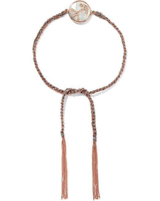 Carolina Bucci   Metallic Sagittarius Lucky Zodiac 18-karat Rose Gold, Diamond, Mother-of-pearl And Silk Bracelet   Lyst