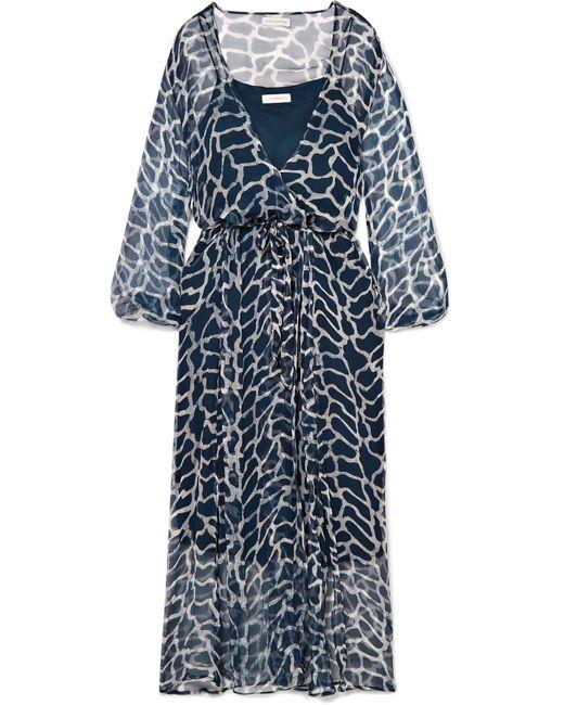 Cloe Cassandro - Blue Jemima Giraffe-print Silk-crepon Wrap Midi Dress - Lyst