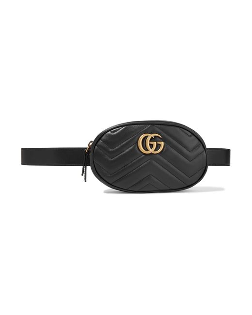 81f36a289a1 Gucci GG Marmont Matelassé Belt Bag in Black - Save 15% - Lyst