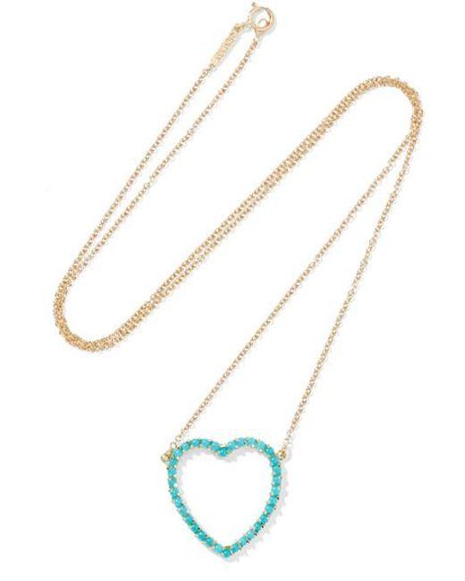 Jennifer Meyer | Blue Open Heart 18-karat Gold Turquoise Necklace | Lyst