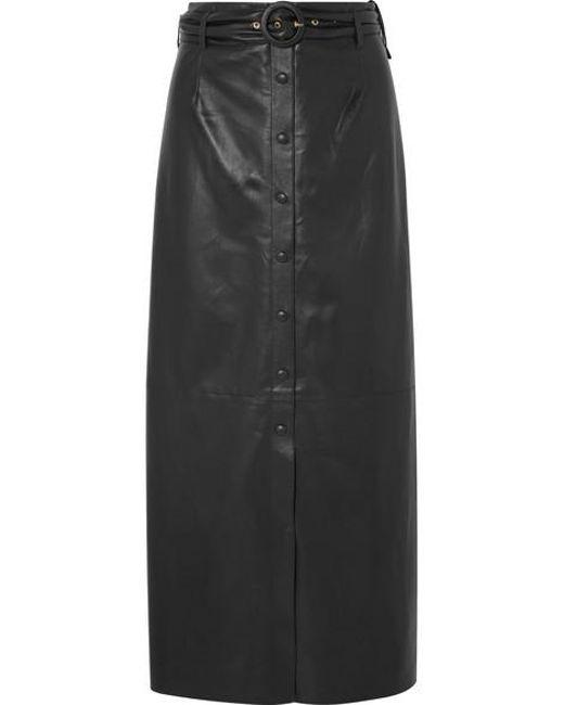 55979b90cc Nanushka - Black Ayona Belted Vegan Leather Maxi Skirt - Lyst ...