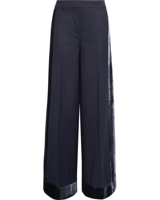 J.Crew - Blue Laney Velvet-trimmed Wool Wide-leg Pants - Lyst
