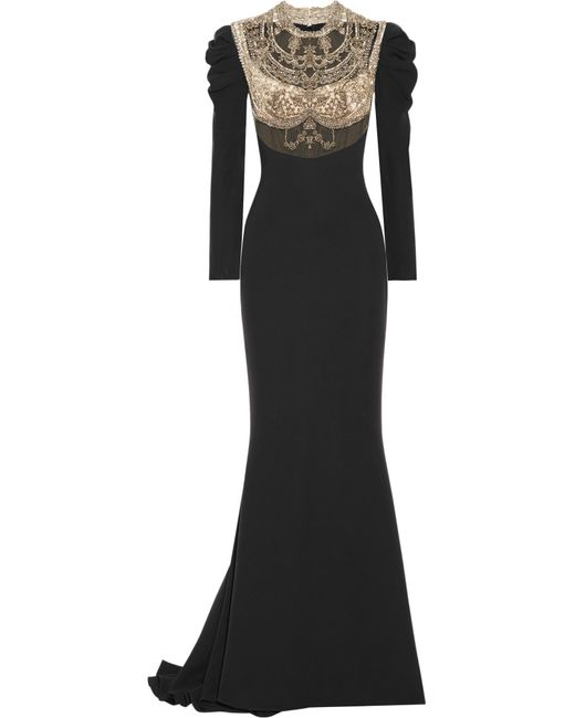 Reem Acra - Black Embellished Tulle-paneled Silk Crepe De Chine Gown - Lyst