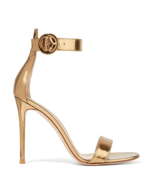 Gianvito Rossi - Portofino 105 Metallic Leather Sandals - Lyst