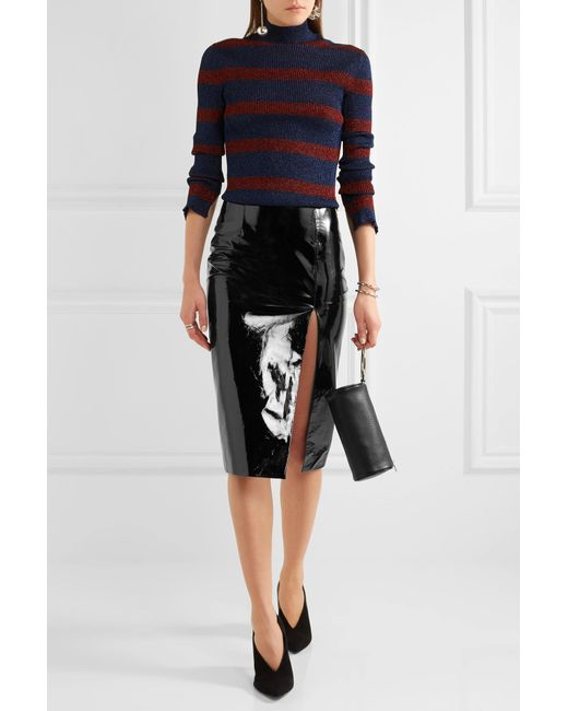 topshop unique patent leather pencil skirt in black lyst