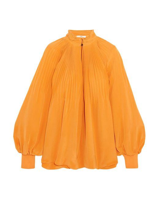 Tibi   Orange Plissé Silk Crepe De Chine Blouse   Lyst