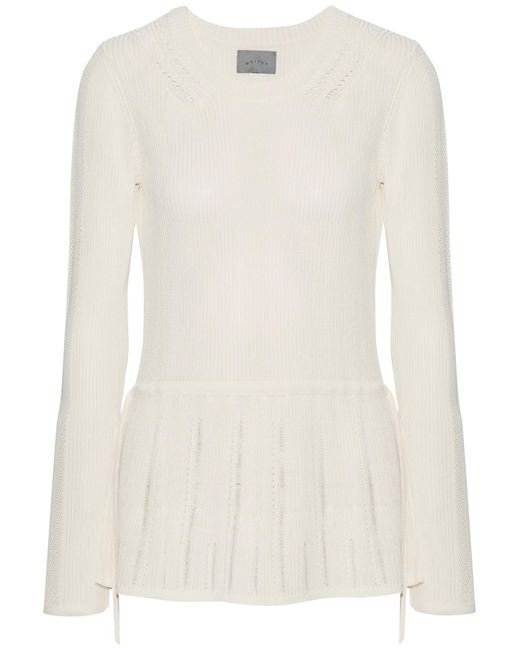 Maiyet | White Pointelle-trimmed Ribbed Stretch-knit Peplum Sweater | Lyst