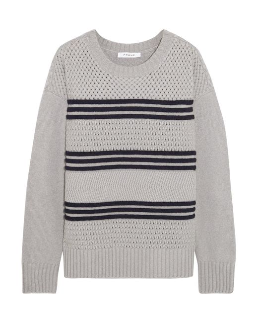 FRAME | Gray Striped Mercerized Wool-blend Sweater | Lyst