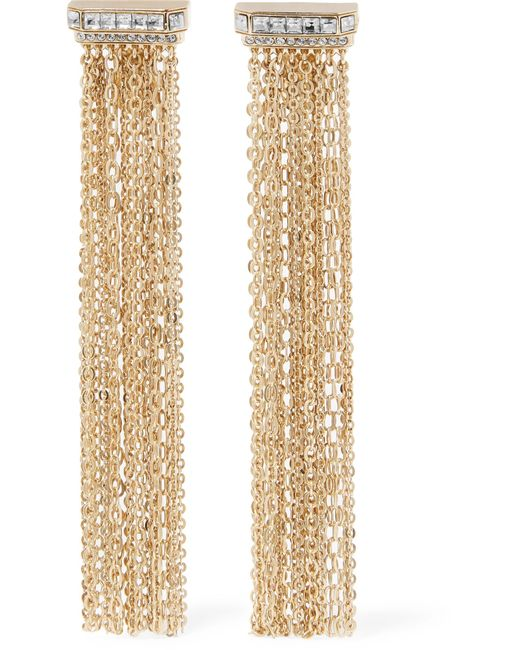 Lanvin | Metallic Gold-tone Crystal Clip Earrings | Lyst