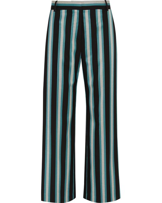 Topshop Unique | Blue Beale Striped Satin-twill Pants | Lyst