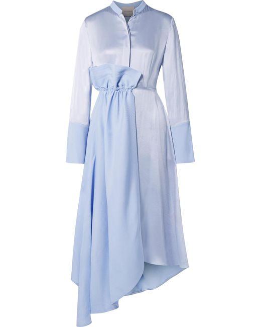 Roksanda - Blue Micah Cotton-seersucker And Hammered Silk-satin Dress - Lyst