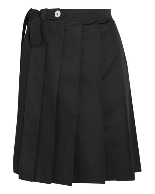 Miu Miu | Black Pleated Cotton Skirt | Lyst