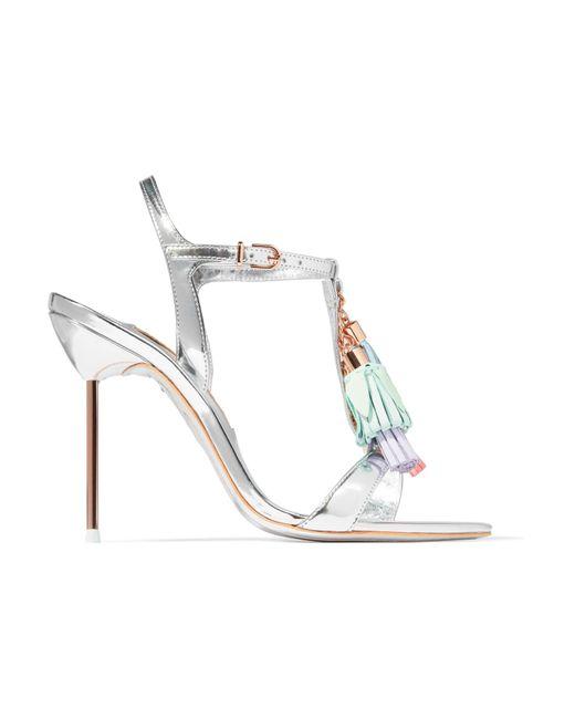 Sophia Webster | Metallic Layla Tasseled Mirrored-leather Sandals | Lyst