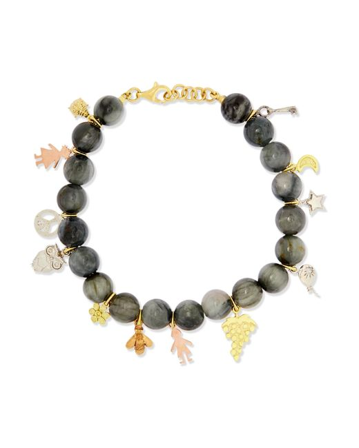 Carolina Bucci   Gray Recharmed Lucky 18-karat Yellow, Rose And White Gold And Agate Bracelet   Lyst